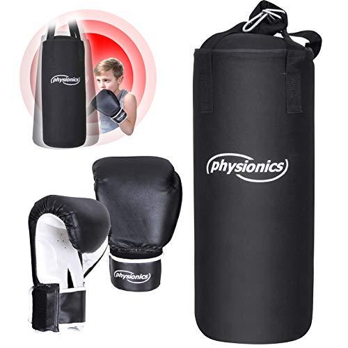 Physionics® Kinder Boxsack-Set - mit Boxhandschuhen 8oz, Gefüllt, Ø25 cm, H60 cm,...