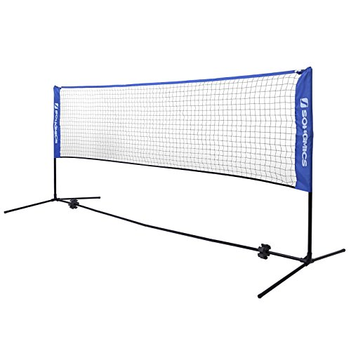 SONGMICS 4 m Badmintonnetz, Tennisnetz, höhenverstellbar, Set bestehend aus Netz,...