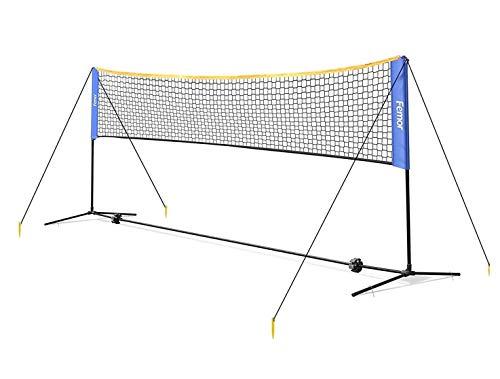 femor Badminton Netz Tennisnetz 5m Tragbares Volleyball mit Verstellbaren Höhen...