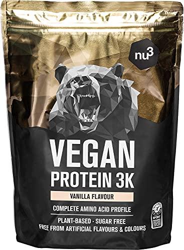 Vegan Protein 3K Shake - 1 Kg Vanille Flavor - Pflanzliches Proteinpulver mit Reis-,...