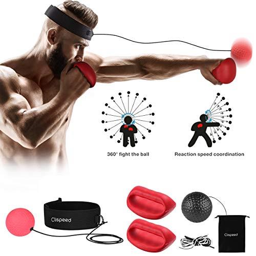 CLISPEED Boxing Reflex Ball Reaktion Trainingsbälle mit Stirnband und Handschuhen