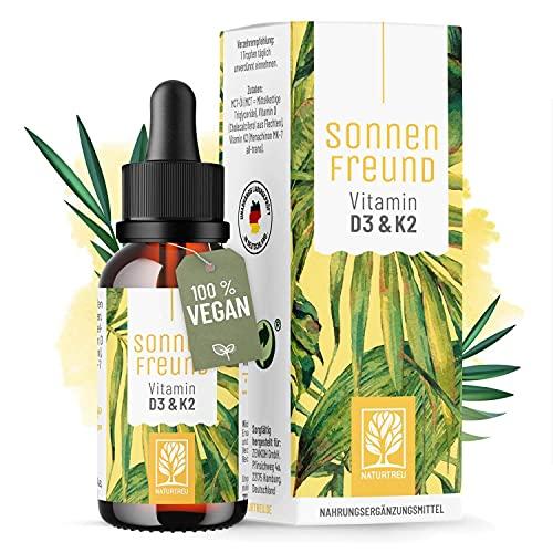Vitamin D3 K2 Tropfen hochdosiert und vegan - 100% pflanzlich (ohne tierisches...