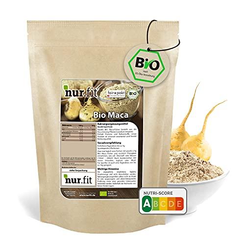 nur.fit by Nurafit BIO Maca Pulver 500g – rein natürliches Maca-Pulver in...