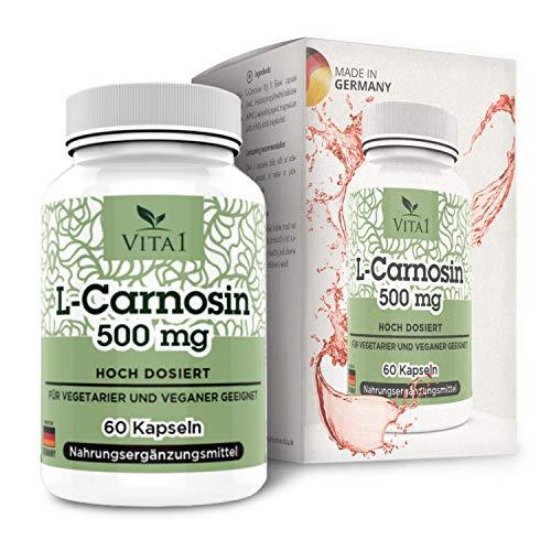 VITA1 L-Carnosin 500mg • 60 Kapseln (Monatspackung) • Glutenfrei, vegan, koscher...