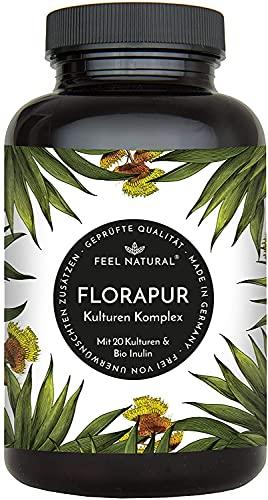 Florapur Kulturen Komplex - 20 Bakterienkulturen & Bio Inulin - (180 vegane Kapseln)...