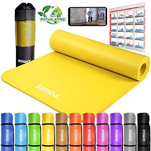 POWRX Gymnastikmatte Premium inkl. Trageband + Tasche + Übungsposter GRATIS I...