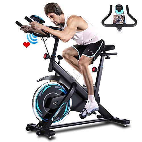 ANCHEER Heimtrainer, Indoor Cycling Bike Fitnessbike Mit Herzfrequenzmonitor & LCD...