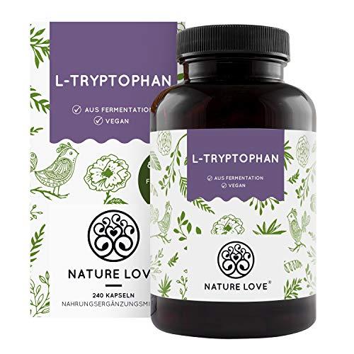 NATURE LOVE® L-Tryptophan – 240 Kapseln, laborgeprüft, hochdosiert mit 500 mg je...