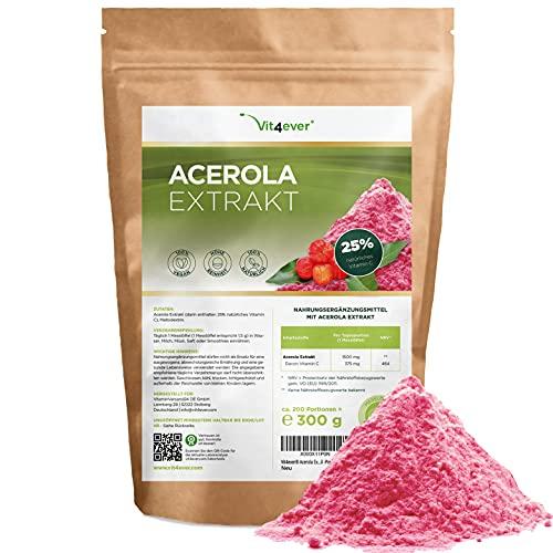 Acerola Pulver - 300 g (6,6 Monate Vorrat) - Natürliches Vitamin C - 200...
