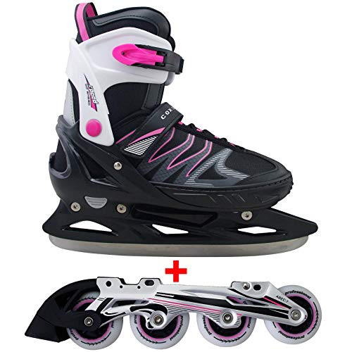 Cox Swain 2 in 1 Kinder Skates-/Schlittschuh -Joy- LED Leuchtrollen, ABEC 7 Carbon...