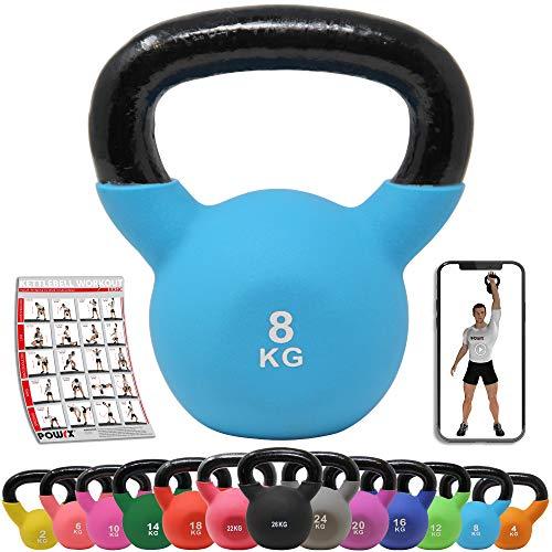 POWRX Kettlebell Neopren 2-26 kg inkl. Workout I Kugelhantel in versch. Farben und...