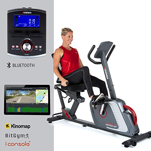 HAMMER Liegeergometer Comfort Motion BT, Komfortables Fitnessfahrrad mit...