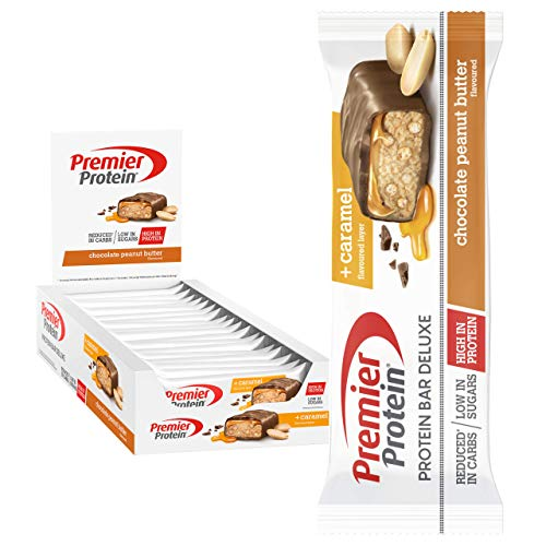 Premier Protein Bar Deluxe Chocolate Peanut Butter 18x50g - High Protein Low Sugar +...