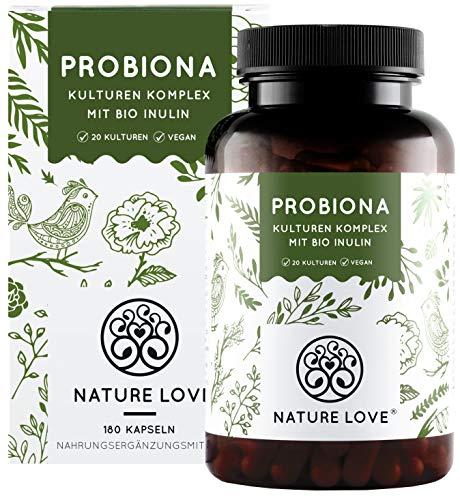 NATURE LOVE® Probiona Komplex - 20 Bakterienstämme + Bio Inulin - 180...