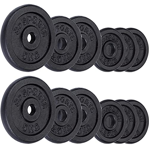 ScSPORTS 27,5 kg Hantelscheiben-Set Guss 6X 1,25 + 4X 2,5 + 2X 5 kg Gewichte 30/31 mm...
