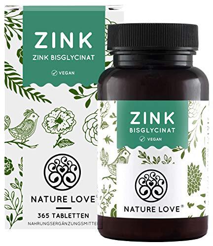 NATURE LOVE® Zink - 365 Tabletten (1 Jahr) - Hochdosiert (25mg): Zink-Bisglycinat...