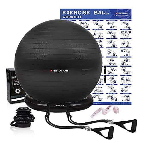 Sporus Gymnastikball mit Ballschale, Anti-Burst Fitnessball 65 cm Stuhl System und...
