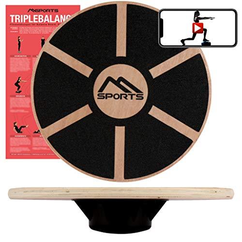 MSPORTS Balance Board aus Holz 39 cm Durchmesser inkl. Balance Übungsposter +...