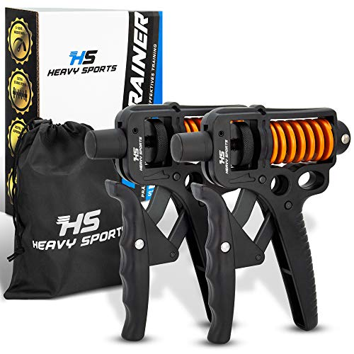 HEAVY SPORTS HS Handtrainer - [2X] Fingertrainer mit verstellbarem 5-50kg Widerstand...