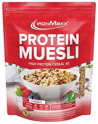 IronMaxx Protein Müsli Veganes Eiweißmüsli laktosefrei, Geschmack Schokolade, 2 kg...