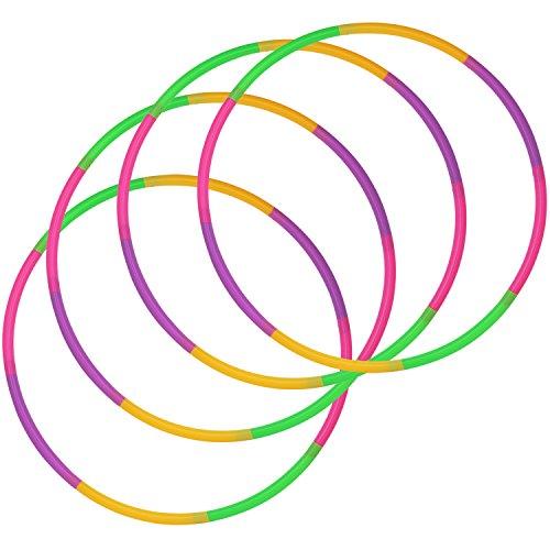 com-four 4er Set - Hula-Hoop Ring zum Zusammenstecken, Grün, Lila, Pink, Orange