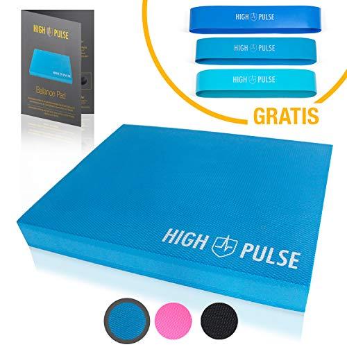 High Pulse XXL Balance Pad inkl. 3X Fitnessbänder + Poster – Balancekissen für EIN verbessertes Gleichgewicht, Koordination und Stabilität (Blau)