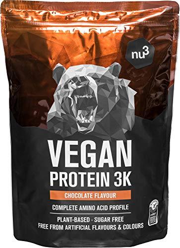 Vegan Protein 3K Shake - 1 Kg Chocolate - Pflanzliches Proteinpulver mit Reis-,...