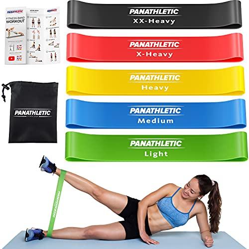 Panathletic Fitnessbänder, 5er Set – 5 Verschiedene Stärken, Übungsanleitung,...