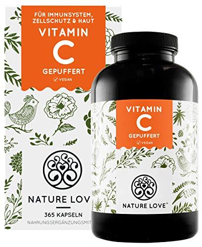 NATURE LOVE® Gepuffertes pflanzliches Vitamin C - Hochdosiert mit 1000mg Vitamin C...