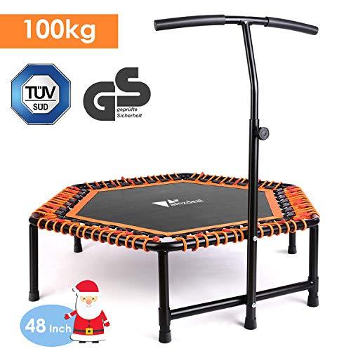 amzdeal Fitness Trampolin Indoor Trampolin für Jumping mit höhenverstellbarem...