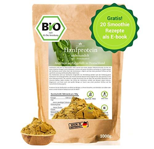 BIO Hanfprotein 1kg aus Deutschland + Gratis Smoothie E-Book (PDF), Vegan Protein aus...