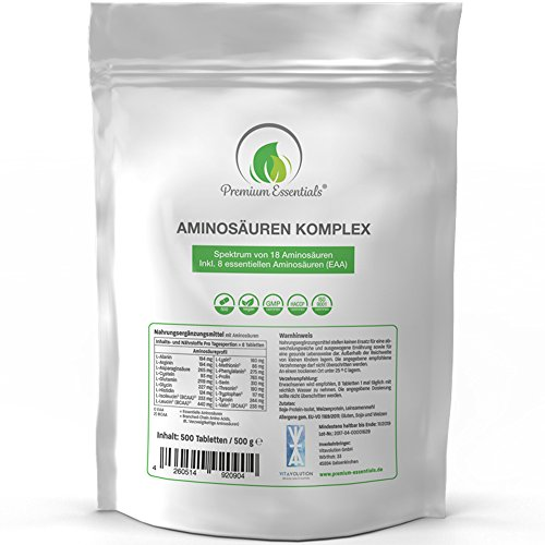 Aminosäuren-Komplex, 500 Tabletten á 1000mg (vegan) | Alle 18 Aminosäuren (BCAA &...