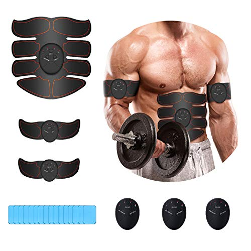 iThrough Muskelstimulator, EMS Trainingsgerät, Bauchmuskeltrainer mit 6 Modi & 10...