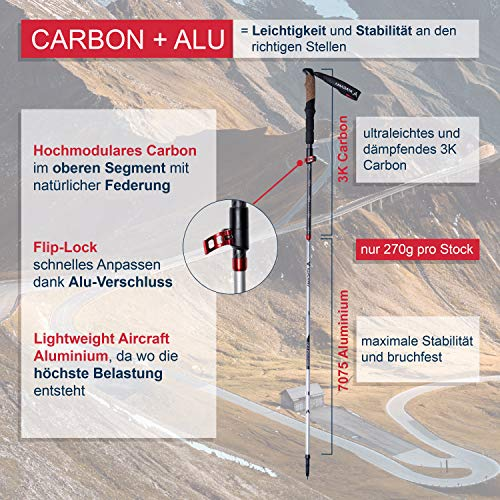 Atacama Wanderstöcke faltbar Trekkingstöcke Teleskop - aus 3k Carbon und 7075...