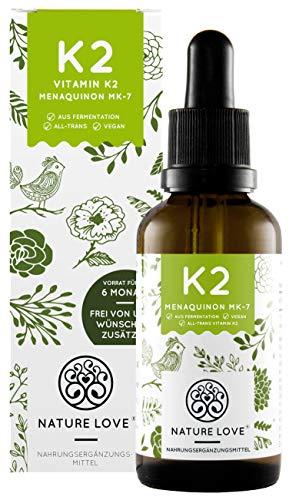 NATURE LOVE® Vitamin K2 MK-7-200µg (50ml flüssig) - Höchster All-Trans Gehalt...