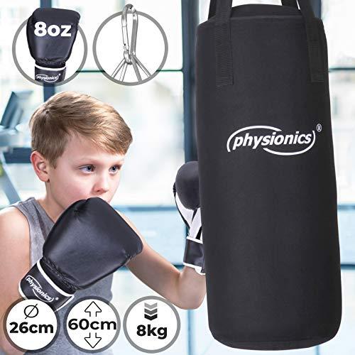 Physionics Kinder Boxsack-Set - mit Boxhandschuhen 8oz, Gefüllt, Ø26 cm, H60 cm,...