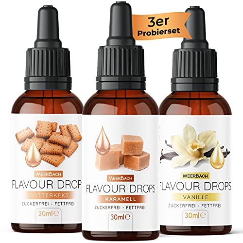 Flavour Drops, 3er Probierset mit Karamell, Vanille, Butterkeks, Aromatropfen ohne...
