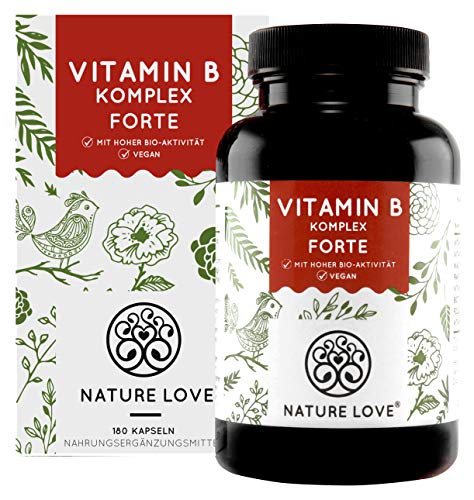 NATURE LOVE® Vitamin B Komplex Forte - Mit 500 µg Vitamin B12 pro Tagesdosis - 180...