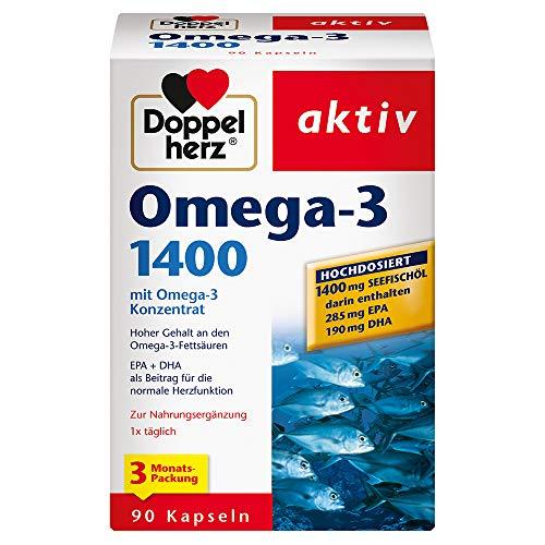 Doppelherz Omega-3 1400 mg – Hochdosiertes Omega-3-Konzentrat plus Vitamin E –...