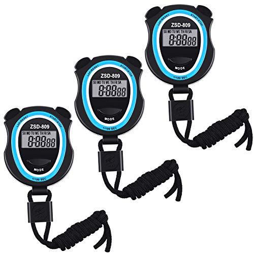 3 Stück Digitale Stoppuhr, Multi-Funktion Elektronisch Digital Sport Stoppuhr Timer...
