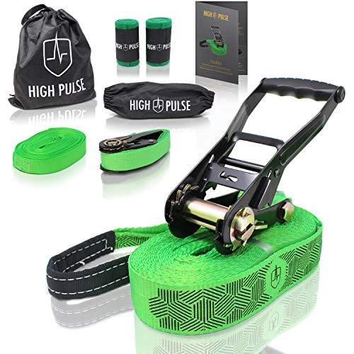High Pulse® Slackline Set | 15 m – Komplettes Slackline-Set (12,5 m Band + 2,5 m...