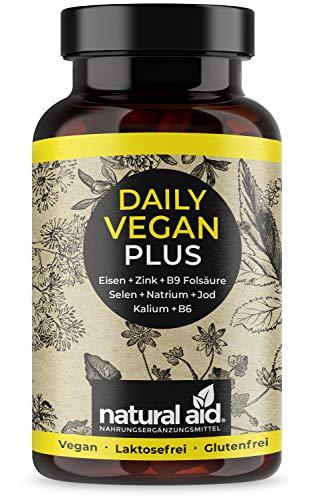 Daily Vegan PLUS - Eisen+Zink+B9 Folsäure+Selen+Natrium+Jod+Kalium+B6, 120 Kapseln...