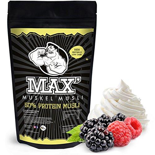 MAX MUSKEL MÜSLI Protein Müsli Low Carb ohne Zucker-Zusatz & Nüsse - Müsli wenig...