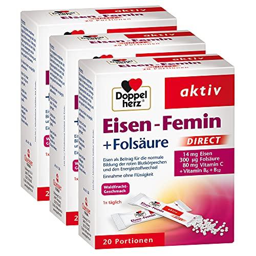 Doppelherz Eisen-Femin Direct mit Vitamin C + B6 + B12 + Folsäure – 14 mg Eisen...