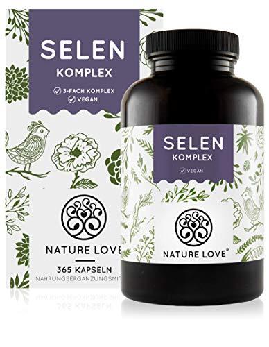 NATURE LOVE® Selen Komplex Vegan - 200µg Selen je Kapsel - 365 Kapseln -...