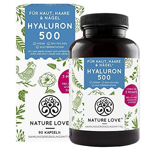 NATURE LOVE® Hyaluronsäure Kapseln mit Zink - Hochdosiert: 500mg - Vegan - 90...