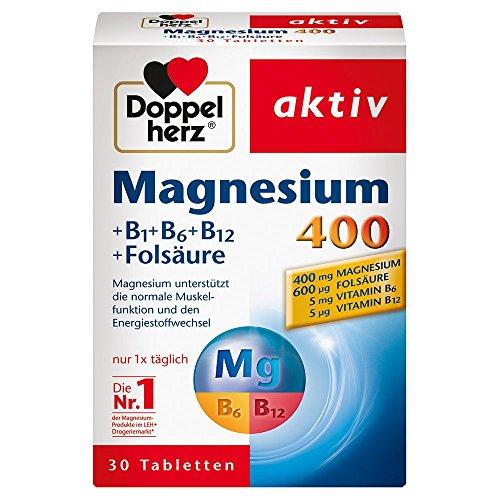 Doppelherz Magnesium 400 + B1 + B6 + B12 + Folsäure – Magnesium für die Muskeln,...