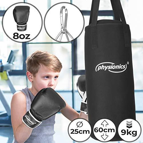 Kinder Boxsack-Set - mit Boxhandschuhen 8oz, Gefüllt, Ø28 cm, H65 cm, Gewicht 10kg,...