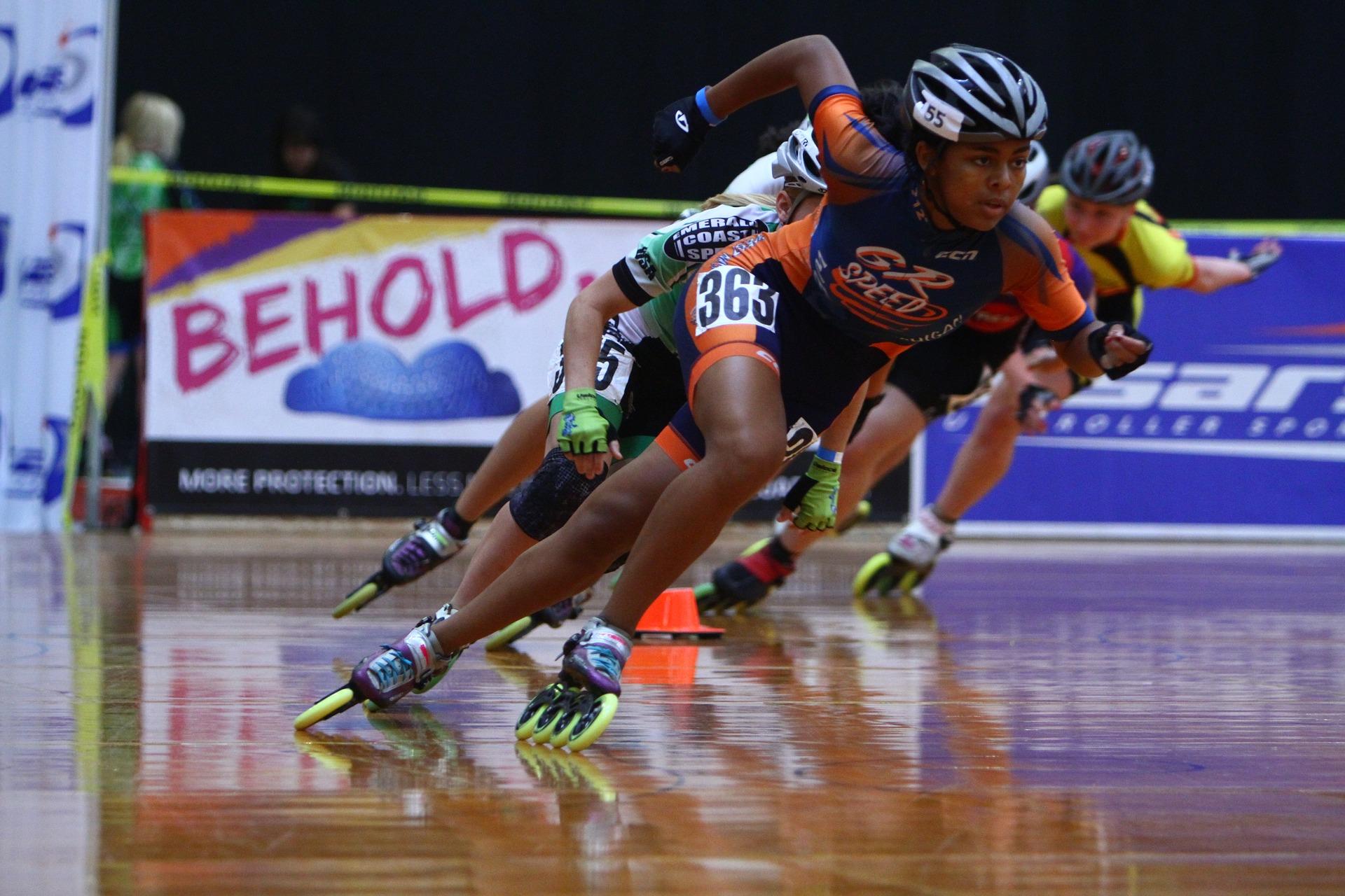 Speed Skaters Geschwindigkeiten erreichen
